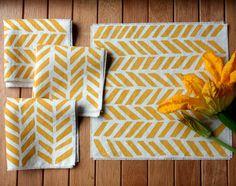 yellow chevron tea towels