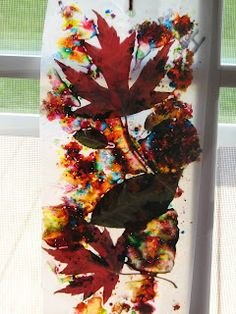 Melted crayon shavings & leaves between wax paper - Used to do this with mum & Grins as a kid ; will do again!