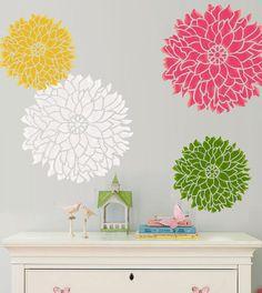 dining rooms, decor, flower wall stencil, garden walls, wall flower painting