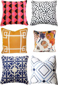 throw pillow ideas: mix and match prints