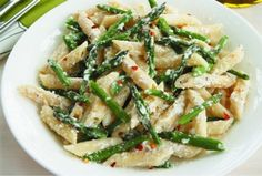 Penne and Asparagus with Ricotta Cheese. Pasta + cheese = a good meal anytime!