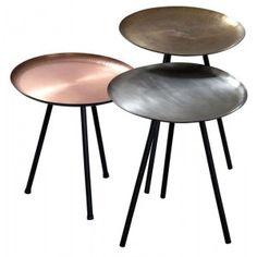 Au Maison set van 3 metallic tafeltjes