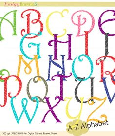 Digital clip art  set  Alphabet AZ  for invites by fudgybrownies