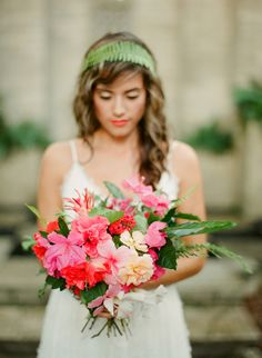 pink spring bouquet, photo by Best Photography http://ruffledblog.com/florida-spring-wedding-ideas #flowers #weddingbouquet