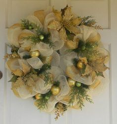 Golden Christmas Mesh Wreath Deco Mesh Wreaths