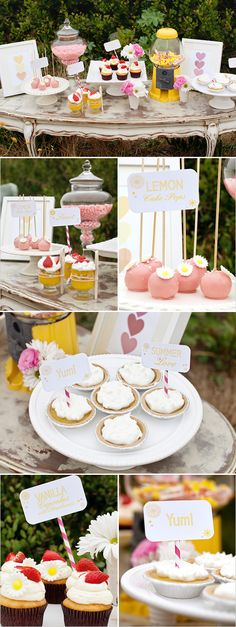 summer cupcakes, lemonade party, wedding deserts, sweet tabl, dessert tabl, gumball machine, strawberri, strawberry lemonade, parti