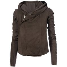 RICK OWENS hooded leatehr jacket found on Polyvore