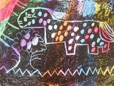 Kids scratch crayon art