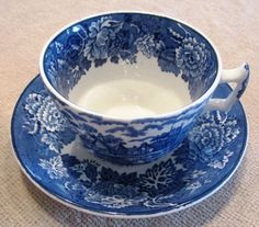 Blue And White Vintage Woods Transferware Cup by VintagenutsInc