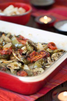 Greek Vegetarian: Greek Briam (Roasted Vegetables, Greek Style) The easiest vegetarian Greek dish youll make!