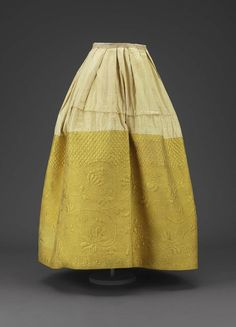 Yellow quilted silk petticoat  Probably American, 18th century  DIMENSIONS  96 x 103 cm (37 13/16 x 40 9/16 in.)  MEDIUM OR TECHNIQUE  Quilted silk, worsted twill lining, glazed cotton header, linen tape waistband, silk plain weave hem binding tape, cotton batting    MFA