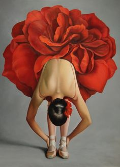 Artist: Christiane Vleugels; Belgium {contemporary figurative female red rose tutu woman ballet dancer painting}