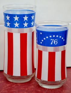 Bicentennial Glasses Set of 8 July 4th 76 Patriotic Liberty Red White Blue on Etsy, $42.00
