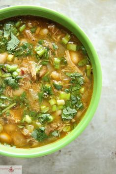 Pork Chili Verde with White Beans and Cilantro. Use Frylight in place of oil.
