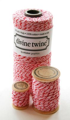 Baker's Twine Single Spool - 5 Yards - Valentine - Peppermint - Three Color White Red Pink. $1.95, via Etsy.