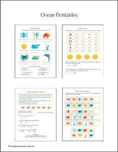 Ocean Unit Study Worksheets and Printables