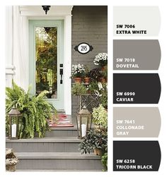 Paint colors from Chip It! by Sherwin-Williams... Love love love this look, didn't know you could paint brick.. From the address plate, the gray brick, the front door is amazing, and the lanterns are just the right touch to say come inside and stay awhile...