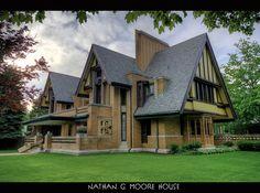 Nathan G. Moore house, Oak Park, Illinois, by Frank Lloyd Wright, 1895, 1923.