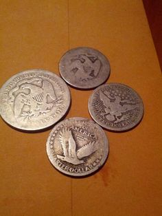 1800s silver coins 1.25 face: standing liberty, seated liberty and barber coins