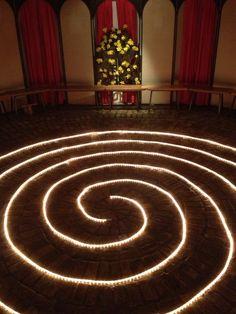 Rope light labyrinth.