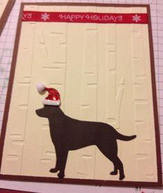 Christmas card using darice birch tree bossing folder and memory box lab die