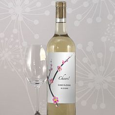 cherry blossom wine bottle label as low as $0.46, cherry blossom wedding favors, cherry blossom wedding decorations