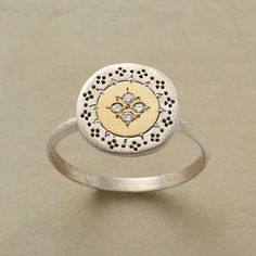 "Ring | Adel Chefridi.  ""Rafika"".  18k gold, brushed with sterling silver and diamonds"