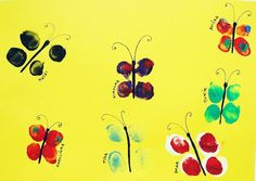 Pinkie says...: Fingerprint Butterflies. Cute little things!    #fingerprints #painting #kidscrafts