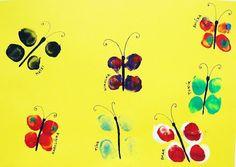 Pinkie says...: Fingerprint Butterflies. Cute little things!    #fingerprints #painting #kidscrafts