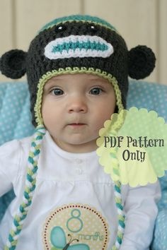 Sock Monkey Pattern Crochet Monkey Hat by DaisyCottageDesigns