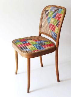 Love this Cross Stitched Cane Back Chair
