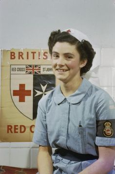 Nurse Diana Hotham of the Voluntary Aid Detachment (VAD) in Italy. Nurse Hotham spent 3 1/2 years nursing at Bovington Camp and Aldershot before going to Italy. #nurse #vintage #1940s #WW2