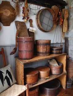 Love all the wooden containers.