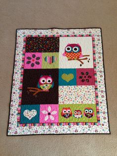 Happy Owls Baby Girl Quilt or Wall Hanging by Creationsbyweezie, $75.00