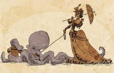 Walkies for Otto by Brian Kesinger.  I will be purchasing this stat. #steampunk #octopus #Victorian