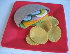 Felt Food Pita Sandwich and Potato Chips by FiddledeeDeeCraft