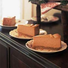 Pumpkin Cheesecake! This rich, creamy pumpkin cheesecake with a vanilla wafer crust only has 256 calories per slice and less than 10 grams of fat. I can't wait to try it!!