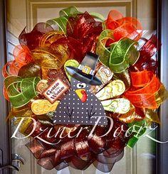 Gobble til You Wobble Turkey deco mesh Wreath