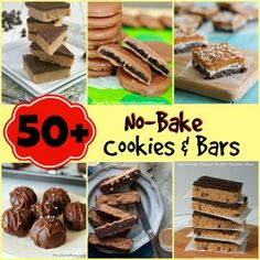 50+ No-Bake Dessert Recipes from JensFavoriteCookies.com - all kinds of cookies and bars that require NO baking!