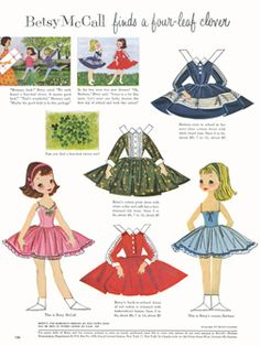 betsi mccall, clovers, august 1957, mccall find, paper dolls, cousin, papers, fourleaf clover, mccall paper