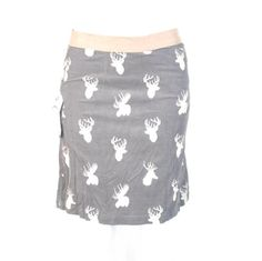 MOOSE SKIRT!!!  Knitted Dove Montana Moose Corduroy Skirt Chestnut Brown Small $59