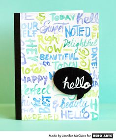 Hero Arts 'Hello' Iron-off embossing card, by Jennifer McGuire - with video tutorial