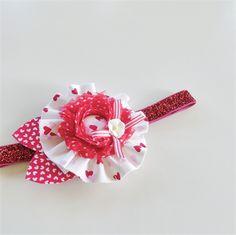 Ruffle Bloom Headband - Red- Hearts - Glitter Band