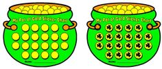 """During the month of Marcy, use these """"Pot of Gold"""" St. Patrick's Day sticker charts to record homework assignments, reading books, spelling tests, good citizenship, or they can be used for a variety of other ideas and subjects."""