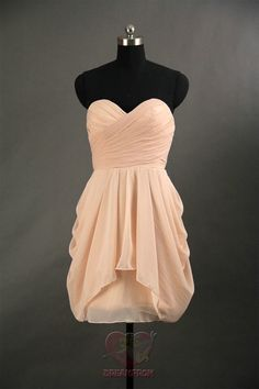 Custom Handmade Sweetheart Pleated Chiffon Simple Formal Short Prom/Evening/Party/Bridesmaid/Cocktail/Homecoming Dress Gown on Etsy, $83.99