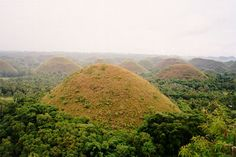 Known as Chocolate Hills in Bohol, the mountains turn their color into brown after summer.