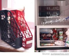 Use magazine holders as freezer shelves.