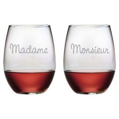 2 Piece Madame et Monsieur Stemless Wine Glass Set - <3!