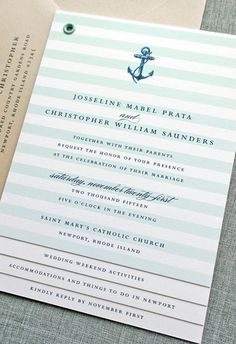 Nautical wedding invitation booklet