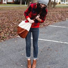 Red flannel, beanie, cuffed skinny jeans, tan booties